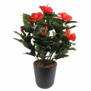 plante-artificielle-fleurie-hibiscus-rouge-1